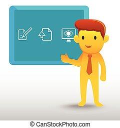 żółty, prezentacja, biznesmen