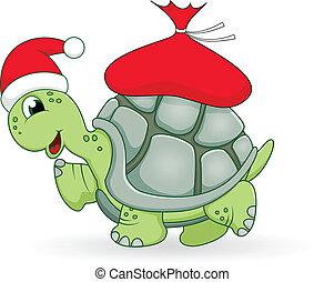 żółw, boże narodzenie, rysunek