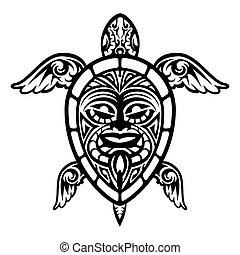 żółw, capstrzyk, do góry, wektor, polinezyjski, zamknięcie