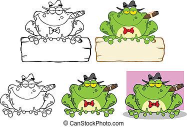 żaba, mobster, znak, na, zbiór