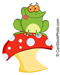 żaba, muchomor, drzewo