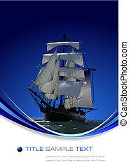 żagiel, ilustracja, ship., wektor, tło, marynarka