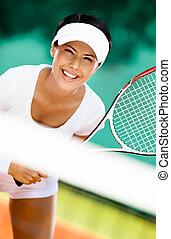 żartobliwy, tenis, kobieta, interpretacja, ubranie sportowe
