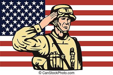 żołnierz, amerykańska bandera, wstecz, pozdrawianie