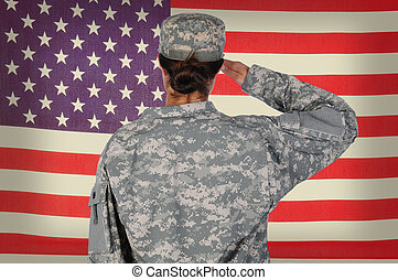 żołnierz, bandera, grunge, samica, pozdrawianie