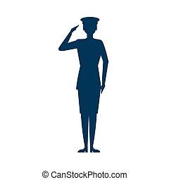 żołnierz, pozdrawiać, samica