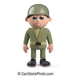 żołnierz, reputacja, armia, uwaga, 3d
