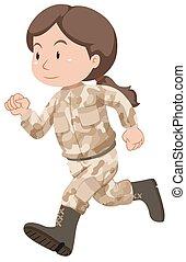 żołnierz, samica, brązowy, jednolity