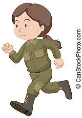 żołnierz, wyścigi, samica, jednolity