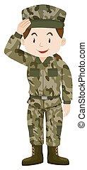 żołnierz, zielony, samica, jednolity