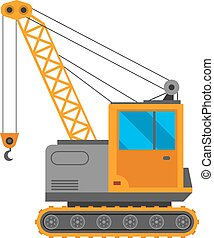 żuraw, wektor, wózek, ilustracja