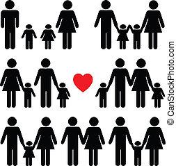 życie, czarnoskóry, komplet, ikona, rodzina