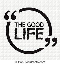 życie, dobry, projektować, ilustracja