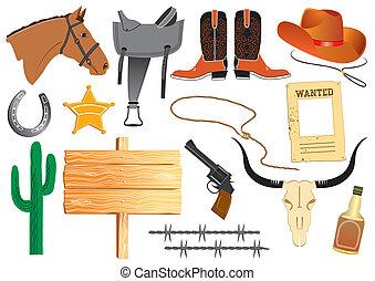 życie, elementy, kowboj, praca, wektor, biały, odzież