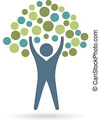 życie, graficzny, ludzie, eco, drzewo, ilustracja, wektor, projektować, circles., logo., ikona