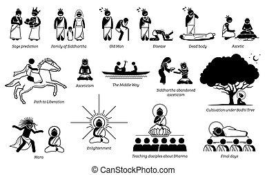 życie, historia, wtykać, budda, figura, gautama, icons.