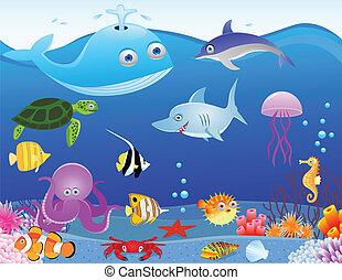 życie, morze, rysunek, tło