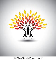 życie, pojęcie, szczęśliwy, radosny, eco, ludzie, -, drzewa, vector.