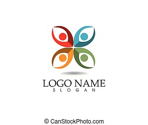 życie, powodzenie, ikony, ludzie, współposiadanie, zdrowie, szablon, logo, troska