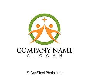 życie, powodzenie, ikony, zdrowie, szablon, logo