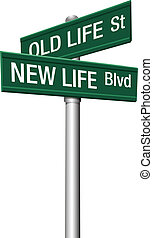 życie, stary, uliczne oznakowanie, nowy, albo, zmiana