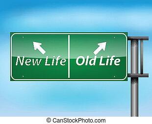 życie, stary, znak, połyskujący, nowy, szosa