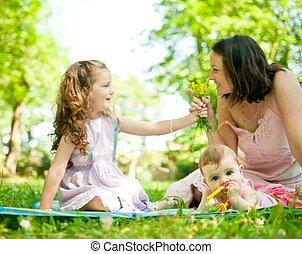 życie, szczęśliwy, -, dzieci, macierz