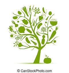 życie, zdrowy, drzewo, warzywa, -, zielony, projektować, twój