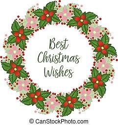 życzenia, kwiatowy, frame., czerwony, wektor, karta, boże narodzenie, kaligrafia, piękny, najlepszy