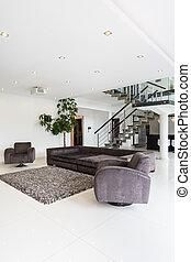 żyjący, meble, nowoczesny pokój, miejsce zamieszkania