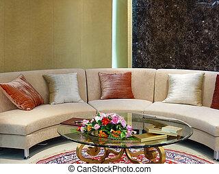 żyjący, nowoczesny, luksus, pokój