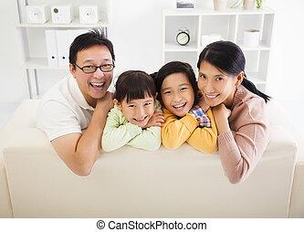 żyjący, szczęśliwy, pokój, rodzina, asian