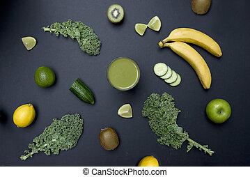 żyjący, zdrowy, warzywa, smoothie, owoc, zielony