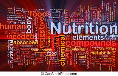 żywienie, jarzący się, pojęcie, zdrowie, tło