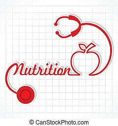żywienie, ustalać, stetoskop, słowo