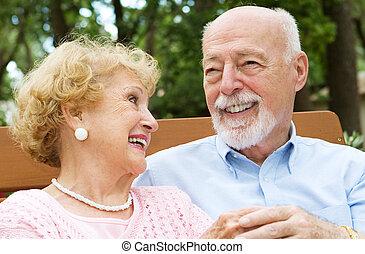 -, śmiech, senior, miłość, para