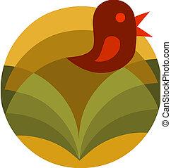 -2, abstrakcyjny, ptak, ilustracja, wektor, kwiat