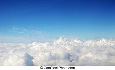 -, atmosfera, chmury, tło, niebo