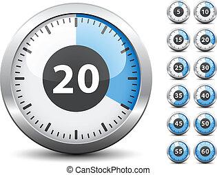 -, chronometrażysta, jeden, wektor, każdy, zmiana, odpoczynek, czas, minuta