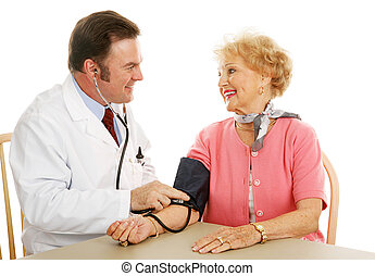 -, ciśnienie, krew, medyczny, normalny, senior