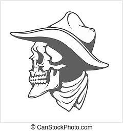 -, czaszka, kapelusz, kowboj, gangster