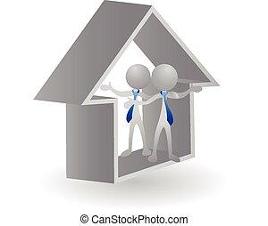 -, dom, stan, logo, prawdziwy