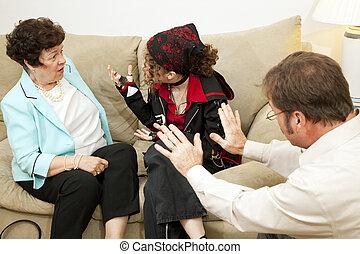 -, doradzając, rodzina, mamusia, zarzut