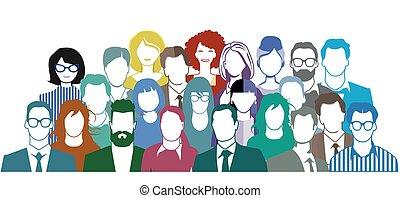 -, drużyna, grupa, wektor, ludzie, portret, illustration.eps