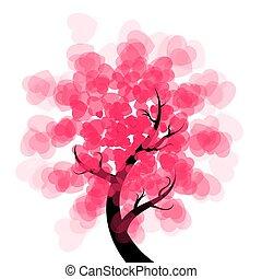 -, drzewo, illustration., romansowe serce