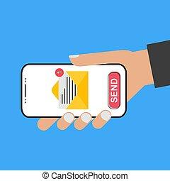 -, dzierżawa ręka, styl, smartphone, e-poczta, ekran, wysyłać, it!, projektować, nowoczesny