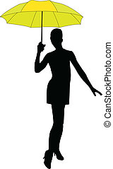 -, dziewczyna, wektor, parasol