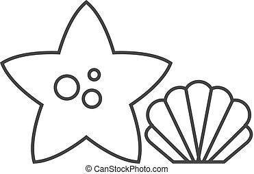 -, fish, gwiazda, szkic, ikona