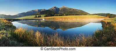 -, jezioro, panorama, tatras, wschód słońca, slovakia, góra