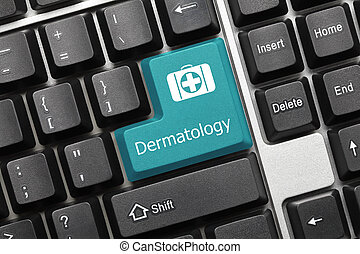 -, konceptualny, (blue, dermatologia, klawiatura, key)